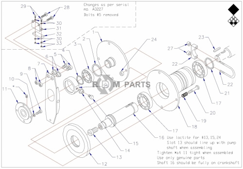 Vertidrain 7007 (hyd) basic machine parts