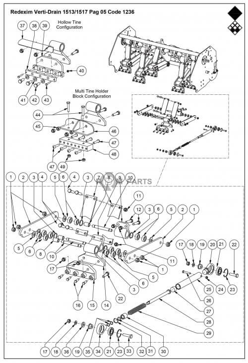 Vertidrain 1513 Onderdelen Basismachine parts