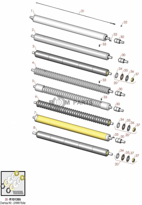 replacement parts for john deere 2500,2500a, 2500b, 2500e & 2500e hybrid  rollers