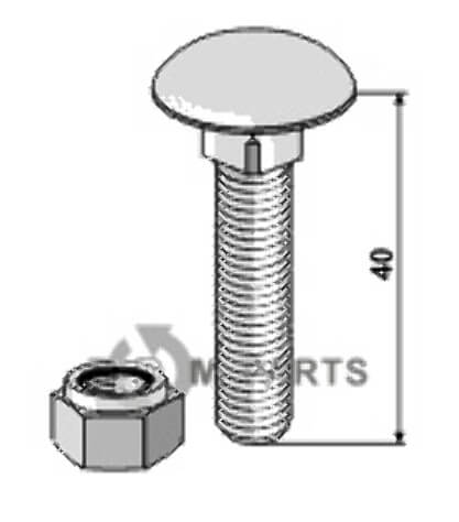 Saucer-head screws with self-locking nuts  M10 x 1,5 - 8.8 - 808-51-1031