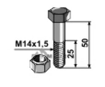 Bolt with self-locking nut - M14x1,5 - 12.9 fitting for F01010082 from Maschio - 808-63-1450
