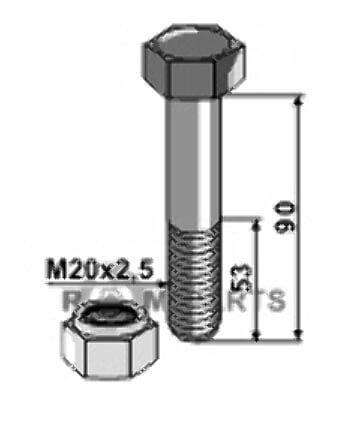 Bolt with self-locking nut - M20 x 2,5 - 8.8 - 808-63-2090