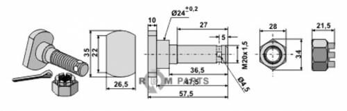 Mesbout M 20 x 1,5 met moer passend voor Humus Schraube 19/451151 Mutter 19/165051 - 808-63-HUM-93