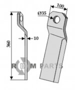 Twisted comminution blade - long -left - 808-63-IND-156L