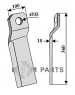 Twisted comminution blade - long - right - 808-63-IND-156R
