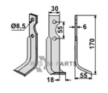 Fräsmesser, rechte Ausführung geeignet für B.C.S. 59277 - 808-BCS-14R