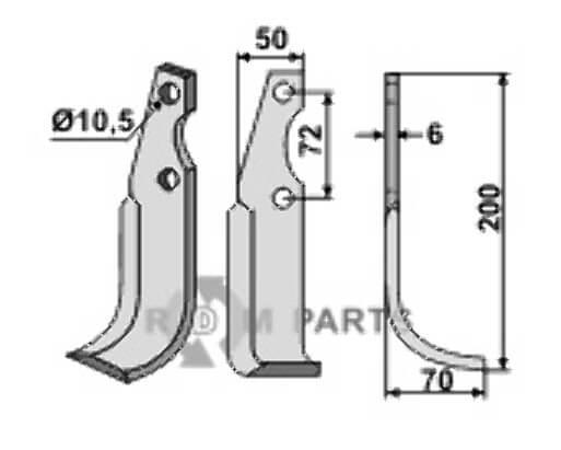 Blade, right model - 808-CAS-12R