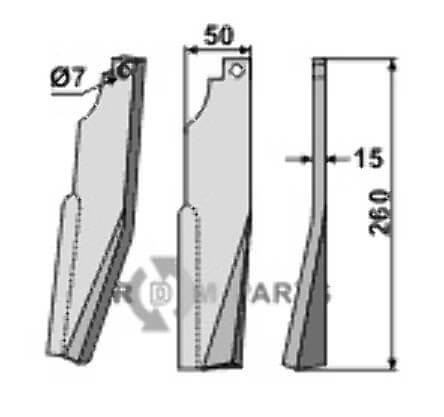 Rotortanden, rechtse uitvoering passend voor Kuhn K 1601450 - 808-KUH-75R