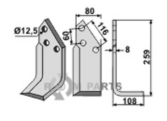 Blade, right model - 808-PEG-10R
