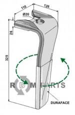 Tine for rotary harrows (DURAFACE) - left model - 808-RH-119-L-DURA