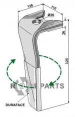 Tine for rotary harrows (DURAFACE) - right model - 808-RH-119-R-DURA