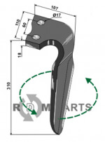 Tine for rotary harrows, left model - 808-RH-ALP-08L
