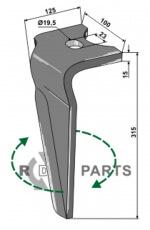 Tine for rotary harrows, right model - 808-RH-ALP-20R