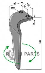 Tine for rotary harrows, right model - 808-RH-BRE-30R