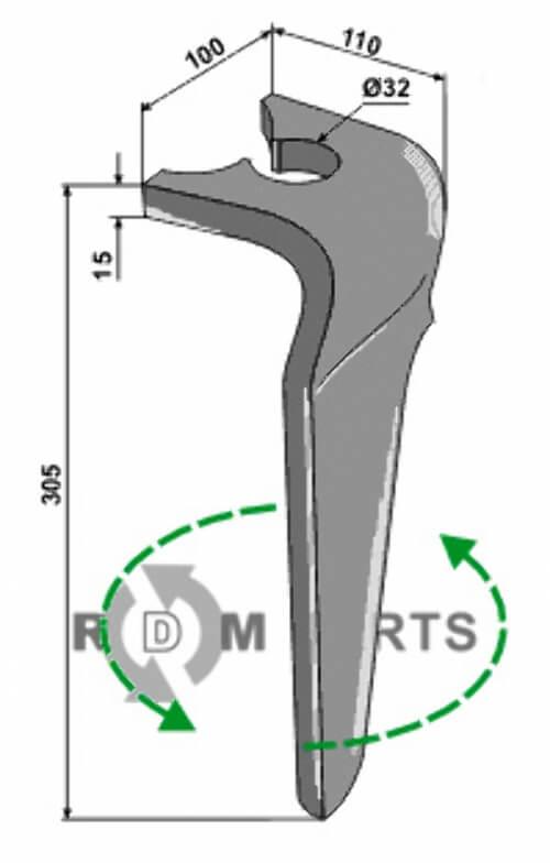 Tine for rotary harrows, left model - 808-RH-BRE-40L