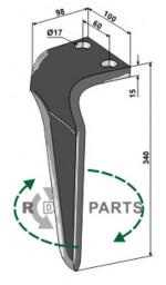 Tine for rotary harrows, right model - 808-RH-MAS-75R