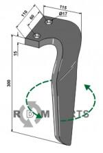 Tine for rotary harrows, left model - 808-RH-RAU-09L