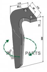 Tine for rotary harrows, right model - 808-RH-RAU-09R
