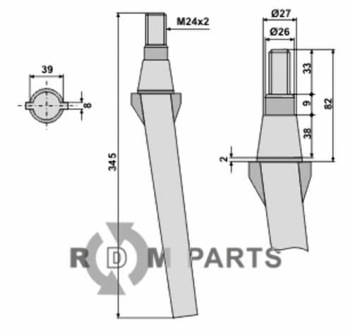 Tine for rotary harrows - 808-RH11C