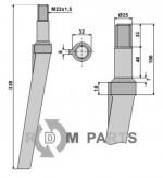 Tine for rotary harrows - 808-RH31