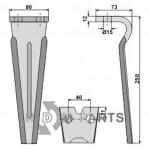 Tine for rotary harrows - 808-RH77