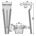 Tine for rotary harrows - 808-RH78